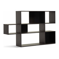 "Baxton Studio - Baxton Studio Lanahan Dark Brown 3-Level Modern Display Shelf - This unique design is just the thing for displaying treasured ceramics, photos, books, and memorabilia with style. The Lanahan Designer Shelving Unit is a 3-level modern bookshelf made of dark brown faux wood grain paper veneer over a frame of engineered wood. Not just a great shelving unit, the Lanahan Shelf is an excellent room divider. This Malaysian-made modern display unit requires assembly and should be cleaned with a dry cloth. The Lanahan Bookshelf is also available with 5 levels (sold separately). Product dimension: 60.81""W x 11.81""D x 38.75""H , shelf dimension from top to bottom: top: 44""W x 13.37""H, middle: 44""W x 9.25""H, bottom: 44""W x 13.37""H"