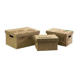 """IMAX - Tavin Jute Fabric Boxes - Set of 3 - This set of three boxes are great for office storage and feature a jute fabric exterior and stencil typographic design. Item Dimensions: (6.5-7-8""""h x 12-14-15.75""""w x 8-10-12"""")"""