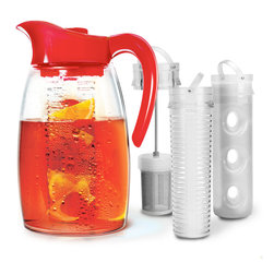 Primula Flavor It 3-in-1 Beverage System Cherry - Brew it  flavor it  or chill it in the new Flavor It Pitcher from Primula. Whether you're brewing hot or cold coffee or tea  infusing fresh fruit flavors into water  infusing mint or lavender into lemonade  or chilling mojitos for entertaining - Flavor It is an eco-friendly alternative to infused bottled beverages. The perfect pitcher  along with trend-forward accessories  makes beverage preparation easy. The pitcher  tea infuser  flavor infuser  lid  and top are dishwasher safe.  Product Features      2.9 quart capacity   Set includes flavor infuser  tea infuser  and chill core   BPA-free Tritan construction   Dishwasher safe  shatterproof   Stain and scratch resistant pitcher   Fits a standard refrigerator door   No-spill locking lid