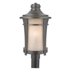 Quoizel - Quoizel HY9011IB Harmony 60W Candelabra Transitional Outdoor Post Lantern Light - This clean design has minimal ornamentation and and pure lines, giving it a peaceful, Zen-like appeal. The soft glow and texture of the linen glass add a special warmth to the exterior of your home.