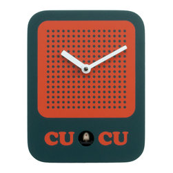 Progetti - Cucuradio 2225 Green Wall Clock - Simple shape with iconic graphic, a radio in the '60s-style dress the cuckoo clock designed by Francesca Macchi. Nice object with sleek and compact size are placed in a harmonious way inside homes and offices giving a touch of originality and color. The structure is made of wood with the bird positioned in the lower center part. Battery quartz movement. The Cuckoo strike is switched off automatically during the night controlled by a light sensor.