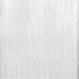 Brewster Home Fashions - Pitch Geometric Ogee Paintable Wallpaper Swatch - This mod paintable wallpaper is embossed with a groovy geometric design. The pattern would look smashing in any color you choose. Our paintable wallcoverings are great affordable solutions for boring walls and can also help with problem walls and imperfections. Customize with the paint of your choice.