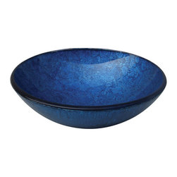 Yosemite Home Decor - Royal Round Glass Basin - Vibrant blue metallic sink with a textured exterior