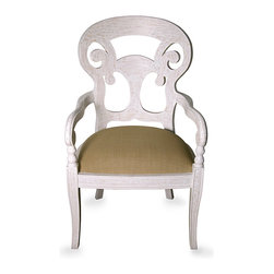 Saragossa Armed Side Chair  - White Wash - Elaborate upon your d�cor with the Saragossa Side Chair's splendid yet whimsical fretwork back, serving as an elegant screen surrounding your table or a graceful silhouette in a corner or against a window.  Whether as a dining or an occasional chair, this handsomely-made piece with its saber legs and upholstered seat provides beautiful curves and dramatic outlines that together offer a rich, lively French-inspired note in your home.