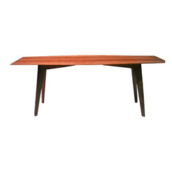 "VtCollection - Solid Cherry Table, Mid Century Modern, Best Seller - This table is now available again, and has been the best seller overall online and at trade shows. Its 50"" in length, 19"" high and 26"" wide. Made out of solid Cherry with long tapered Black Walnut legs angled outward. Photo #3 was sent to me from a happy customer."