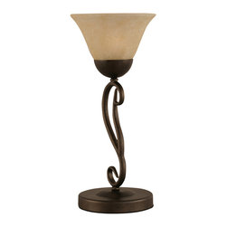 "Toltec - Toltec 44-BRZ-503 Bronze Finish 2 Bulb Mini Table Lamp - Toltec 44-BRZ-503 Bronze Finish 2 Bulb Mini Table Lamp with 7"" Amber Marble Glass"