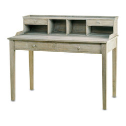 Currey & Co - Currey & Co 3097 Meacham Distressed Truffle Desk - The Currey & Co 3097 Meacham Distressed Truffle Desk offers a unique shaker inspired design with its washed wood and distressed truffle finish. Variations in the wood make each desk unique and no two are exactly alike. The surface of the desk is large enough to hold electronic devices. The additional large drawers and the storage on top of the desk helps keep the space organized. It is the perfect desk for any home office.