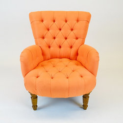 """George Smith """"Sherris"""" PickTufted Barrel Back Bedroom Chair - Dimensions:L 28''  × W 32''  × H 32''"""