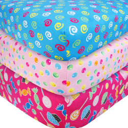 """Trend Lab - 3 Pack Flannel Crib Sheet Set - Candy - Your child's bed will be soft and cozy with this Candy Flannel Fitted Crib Sheet Set by Trend Lab. Sheet patterns include: one candy scatter print featuring ice cream cones, cupcakes, hard candy, and gumdrops in carnation pink, mandarin orange, turquoise, lemon, electric lime, cyan, and chocolate on a paradise pink background; one gumdrop dot print in paradise pink, mandarin orange, turquoise, lemon, electric lime, and cyan on a carnation pink background; and one candy swirl print in paradise pink, lemon and electric lime on a turquoise background features a candy scatter print with ice cream cones, cupcakes, hard candy, and gumdrops in carnation pink, mandarin orange, turquoise, lemon, electric lime, cyan, and chocolate on a paradise pink background. Sheet features 7"""" deep pockets and fits a standard 52"""" x 28"""" crib mattress. Elastic around entire opening and elastic sheet straps sewn in each corner ensures a more secure fit. Coordinates with the Candy collection by Trend Lab."""