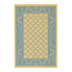 """Couristan - Couristan Recife Garden Lattice, Natural, Blue, 8'6"""" Square Rug - Distinctively designed to complement the simple yet classic styling of outdoor furniture, uniquely colored to make stone entryways and patio decks warmer and more inviting, Couristan is proud to expand its popular indoor/outdoor area rug collection, Recife. Power-loomed of 100% fiber-enhanced Courtron polypropylene, this all-weather, pet-friendly, mold and mildew resistant area rug collection features a durable structured, flatwoven construction, which allows it to be suitable for indoor and outdoor use. The naturally inspired color palette offered in this versatile collection features a series of unique combinations of natural hues that have been selected to complement today's hottest outdoor home furnishings. Hosting a wide range of sizes including runners and special shapes in the form of rounds and squares, the Recife Collection has been designed to offer the perfect outdoor floor covering solution for the home."""