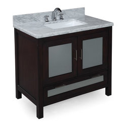 Kitchen Bath Collection - Manhattan 36-in Bath Vanity (Carrara/Chocolate) - This bathroom vanity set by Kitchen Bath Collection includes a chocolate cabinet with tempered glass windows, soft close drawers and self-closing door hinges, double-thick Italian Carrara marble countertop (an incredible 1.5 inches at the edge!), single undermount ceramic sink, pop-up drain, and P-trap. Order now and we will include the pictured three-hole faucet and a matching backsplash as a free gift! All vanities come fully assembled by the manufacturer, with countertop & sink pre-installed.