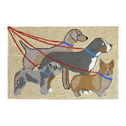"Trans-Ocean - Dog Walk Neutral Rugs 1493/12 - 30""X48"" - Richly blended colors add vitality and sophistication to playful novelty designs.Lightweight loosely tufted Indoor Outdoor rugs made of synthetic materials in China and UV stabilized to resist fading.These whimsical rugs are sure to liven up any indoor or outdoor space, and their easy care and durability make them ideal for kitchens, bathrooms, and porches."