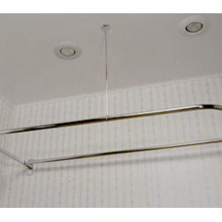 """D-Shaped Brass Shower Curtain Rod - Wider than most D style shower rings, this curtain frame extends farther from the wall and allows for a more spacious, comfortable shower. Includes 36"""" support and jumbo style wall flanges. Add some of our solid brass roller ball rings and a shower curtain to complete the setup."""