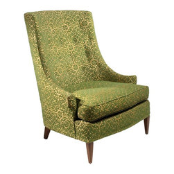 Tomlinson - Consigned Mid Century Modern Hollywood Regency Style Green Slipper Chair - • Mid Century | Hollywood Regency