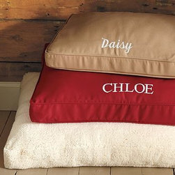 Solid Dog Bed Cover, Large, Cranberry - Our dog beds are made to be seen, so that furry family members can lounge with you in your favorite rooms. Woven of the same sturdy 100% cotton-twill used for our upholstered furniture. Edged with self piping and finished with a side zipper. Available in small, medium or large to accommodate any pet. May be personalized with up to 8 characters for an additional charge. Insert is sold separately. Monogramming is available at an additional charge. Can be personalized with up to 9 characters centered along the border on a long side of the cover. Catalog / Internet Only.