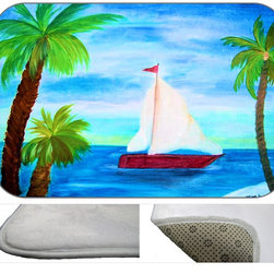 Red Sail Boat Plush Bath Mat, 30X20 - Bath mats from my original art and designs. Super soft plush fabric with a non skid backing. Eco friendly water base dyes that will not fade or alter the texture of the fabric. Washable 100 % polyester and mold resistant. Great for the bath room or anywhere in the home. At 1/2 inch thick our mats are softer and more plush than the typical comfort mats.Your toes will love you.