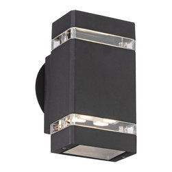 "Possini Euro Design - Possini Euro Black 8"" High LED Up/Down Outdoor Wall Light - When it comes to beautifying your home your outside space can feel neglected. After all you do spend most of your time with your interior furnishings right? Rectify that situation by installing this sleek contemporary outdoor wall light. It enhances your home's exterior with a lovely black finish clear glass and energy-efficient LED lighting in both up and down directions. From the Possini Euro Design outdoor lighting collection.  Clear glass.  Black finish.  Includes eight 1 watt LEDs.  Warm white 2900-3100K color temperature.   Light output is 455 lumens.  Comparable to a 40 watt incandescent bulb.  Not dimmable.  8"" high.   4 1/4"" wide.   Extends 4"" from wall."