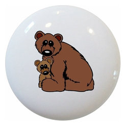 Carolina Hardware and Decor, LLC - Bear and Cub Ceramic Knob - New 1 1/2 inch ceramic cabinet, drawer, or furniture knob with mounting hardware included. Also works great in a bathroom or on bi-fold closet doors (may require longer screws).  Item can be wiped clean with a soft damp cloth.  Great addition and nice finishing touch to any room!