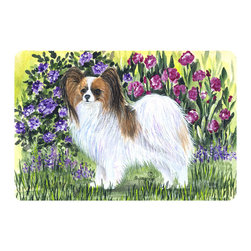 Caroline's Treasures - Papillon Kitchen or Bath Mat 24 x 36 - Kitchen or Bath Comfort Floor Mat This mat is 24 inch by 36 inch. Comfort Mat / Carpet / Rug that is Made and Printed in the USA. A foam cushion is attached to the bottom of the mat for comfort when standing. The mat has been permanently dyed for moderate traffic. Durable and fade resistant. The back of the mat is rubber backed to keep the mat from slipping on a smooth floor. Use pressure and water from garden hose or power washer to clean the mat. Vacuuming only with the hard wood floor setting, as to not pull up the knap of the felt. Avoid soap or cleaner that produces suds when cleaning. It will be difficult to get the suds out of the mat.