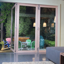 Floor View to the Outside - LaCantina Doors' 3 Panel Clad Bi-Fold system.