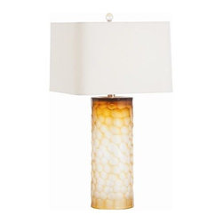 Arteriors - Arteriors Brand Amber Honeycomb Etched Glass Lamp - Arteriors Brand Amber Honeycomb Etched Glass Lamp with Ivory Shade/Ivory Lining