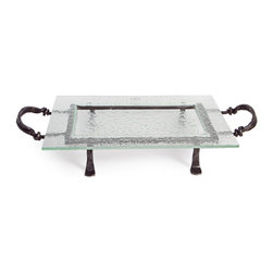 Danya B - Rectangular Textured Glass Serving Platter and Iron Stand with Handles - This gorgeous Rectangular Textured Glass Serving Platter and Iron Stand with Handles has the finest details and highest quality you will find anywhere! Rectangular Textured Glass Serving Platter and Iron Stand with Handles is truly remarkable.
