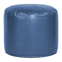 Howard Elliott - Shimmer Sapphire Tall Pouf Ottoman - Our Pouf Tall Ottomans are a great add on to any decor. They work as a tall rest or extra seating. They are filled with polyester fiber & recycled EPS filler. Cover is 100% polyurethane metallic faux leather and removable for easy care.