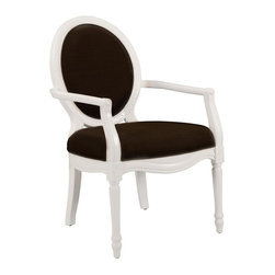 Comfort Pointe - Madison Truffle Accent Chair - Intricate detailed hand carvings. Fluted front legs. Solid Wood Construction. Minor Assembly Required. Fabric: Textured truffle color solid. Fabric Content: 100% Polyester. Finish: White Finish. Seat Height: 20 inches. Arm Height: 27 inches. 26 in. W x 31 in. D x 41 in. H (28.15 lbs.)This hand carved accent chair provides a casual feel.  The white vibrant finish is complimented by the textured, truffle color fabric used for the cushion. Crafted with solid hardwood construction, this chair is sure to be a staple in your home for years to come.