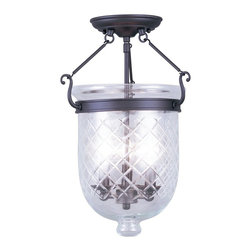 Livex Lighting - Livex Lighting-5072-07-Jefferson - Three Light Semi-Flush Mount - *Canopy Included: Yes