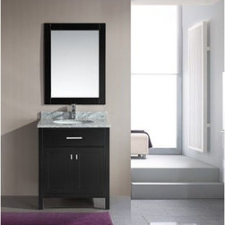 """Design Element - Design Element London 30"""" Single Vanity - Espresso - The London 30"""" Single Sink Vanity Cabinet, constructed with solid wood, provides a contemporary design perfect for any bathroom remodel. The storage in this free-standing vanity includes one flip-down shelf and one double door cabinet each panel accented with brushed nickel hardware. This vanity cabinet is available in an espresso or white finish. You have the option to add a White Carrera Marble Countertop with white porcelain sink, pop-up drain and matching mirror to make your own complete bathroom vanity set. Features Solid wood cabinet One flip down panel, double door cabinet, satin nickel finish. Soft closing cabinet door ensures you never hear door slam again. Available as a Vanity Set including: White Carrera Marble Countertop, White Porcelain Sink, Pop up Drain, Matching Mirror Faucet(s) not included Manufacturer provides 1 year warranty How to handle your counter Natural stone like marble and granite, while otherwise durable, are vulnerable to staining from hair dye, ink, tea, coffee, oily materials such as hand cream or milk, and can be etched by acidic substances such as alcohol and soft drinks. Please protect your countertop and/or sink by avoiding contact with these substances. For more information, please review our """"Marble & Granite Care"""" guide."""