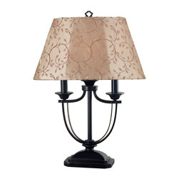 Kenroy Home - Kenroy 31365ORB Belmont  Outdoor Table Lamp - Oil Rubbed Bronze and a two-candle shape suggest colonial, while a Leaf-Print or Taupe shade reads casual.  The combination is elegant.