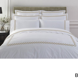 None - Cable Embroidered Egyptian Cotton Collection 300 Thread Count Duvet Cover - Treat your bedroom decor with this cotton duvet cover. This cover features a button closing and distinctive cable embroidery and three classic color options. Made from 100 percent Egyptian cotton,this piece is also machine washable.