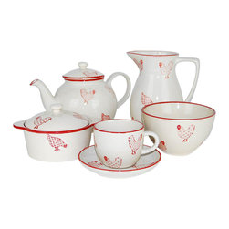 100 Essentials - 19-Pc Barnyard Coffee Set - This 19 pieces Set features 1 Tea or coffee pot, 1 sugar bowl, 1 creamer, 6 coffee cup with 6 saucer, 4 bowls. Stoneware, handmade painted, country style, red and white. Dishwaser and microwave safeVintage-inspired Banyard Dinnerware brings a cozy country touch to the table.