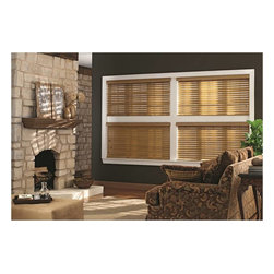 Wood Blinds | Rustic Living Room| Green & Brown | Stone Fireplace - Allow the sun to shine with a twist of the wrist