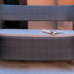 EMU Outdoor Wicker Garden Bench - This bench has simple elegant lines. It's a great way to create seating for multiple people and divide a space at the same time.