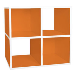 Way Basics - Storage Quad Cube in Orange - Eco-friendly. Water resistant. Completely recyclable. Two shelves. Four cube storage. Formaldehyde free and VOC free so it's safe for family and environment. Warranty: One year. Sustainably made from zBoard - recycled paper. Minimal assembly required. Inside: 11.22 in. W x 11.81 in. D x 11.22 in. H. Overall: 26.4 in. W x 12 in. D x 24.8 in. H (16.09 lbs.)Enjoy the world's easiest tool-free assembly storage furniture. An excellent home organizer for modern living. The modern design with 2 openings create a unique look. Get organized with Cozy Storage Bins that fit perfectly into each cube slot. Need more cubes? Simply get 2 units and stack them side to side or stack them on top of each other. To assemble zBoard storage products, simply peel, stick, done! Tool free and hardware free.