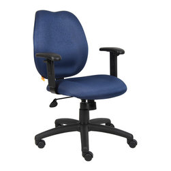 "Boss Chairs - Boss Chairs Boss Blue Task Chair w/ Adjustabl Arms - Mid-back styling with firm lumbar support. Elegant styling upholstered with commercial grade fabric. Sculptured seat cushion made from molded foam that contours to the shape of your body. Ratchet back height adjustment mechanism which allows perfect positioning of the back cushion and lumbar support. Optional adjustable height armrests. Large 27"" nylon base for greater stability. Pneumatic gas lift provides instant height adjustment of the seat. Adjustable tilt tension that accommodates all different size users. Hooded double wheel casters. Upright locking position."
