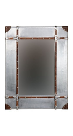 """Linon Home Decor - Linon Home Decor Aluminum Framed Wall Mirror - Large X-123X422RIMMMA - Full of rustic charm and character, the Aluminum Framed Wall Mirror is perfect for accenting any area of your home. The wide bordered mirror is accented with leather and nailhead details. Hangs vertically or horizontally. Measures 24""""x2""""x32"""" We suggest you consult a professional before hanging as this item is heavy."""
