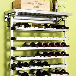 """Pegrail - 36 in. Vintner Wine Bar (Polished Chrome) - Finish: Polished ChromeIncludes:. (1) 36 in. classic pegRAIL. (2) Outriggers. (3) 32 in. Wine Racks. (4) 9 in. Stemware Holders. (1) 32 in. Wire Shelf. (1) Commercial grade Top Shelf. (4) Right outrigger sleeves. (4) Left outrigger sleeves for adjustability. The RAIL is constructed of commercial grade extruded aluminum. All metal components are commercial grade steel with matching finish. Each wine rack holds 8 bottles of your favorite vintages (capacity of 24 bottles shown here)adjustable shelf adds flexibility for your favorite liquors, mixers, tumblers or tools. Stemware holders puts your glasses within easy reach. Assembly is required, hardware pack included. Pictured in Polished Chrome. PDF instructions. 36 in. W x 12 in. D x 38 in. H (48 lbs.)Innovation and function makes this Wine Bar Set a timeless addition to your home. Finally, a simple and stylish organization solution can be created with the patent pending pegRAIL System. Mount the RAIL easily onto the wall. No need for clunky wall standards and brackets or side wall panels that limit flexibility. All of the other components """"click"""" into the RAIL to support a perfectly designed storage solution."""