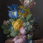A Vase of Flowers with a Bird's Nest on a Marble Ledge | Jan Frans van Dael | Ca - Condition: Canvas Print - Unframed
