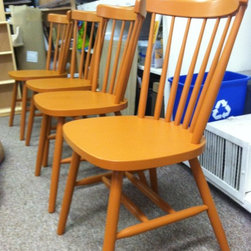 Sam's Custom Finishing - Solid Wood Kitchen Chair. Finished in Benjamin Moore latex paint. Photo: Sam's Wood Furniture Staff