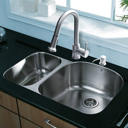 Vigo Industries - All in One 31 in. Undermount Stainless Steel - Sink is fully undercoated and padded with multi layer sound eliminating technology which also prevents condensation. All VIGO kitchen sinks warranted to never rust. Faucet features spray face that resists mineral buildup and is easy-to-clean. VIGO finishes resist corrosion and tarnishing, exceeding industry durability standards Drip-free ceramic disc cartridge. Limited Lifetime Warranty. Exterior Measures: 31 1/2 in. W x 20 1/2 in. D. Larger bowl's interior dimension: 17 3/4 in. W x 18 1/2 in. D. Smaller bowl's interior dimension: 10 1/2 in. W x 16 in. D. Bowl depth: 9 in. (larger bowl) and 7 in. (smaller bowl)Add some sophistication to your kitchen with a VIGO All in One Kitchen Set featuring a 31 in. Undermount sink, faucet, soap dispenser, matching bottom grids and strainers. The VG3121L double bowl sink is manufactured with 18 gauge premium 304 Series stainless steel construction with commercial grade premium satin finish. Fully undercoated and padded with a unique multi layer sound eliminating technology, which also prevents condensation. All VIGO kitchen sinks are warranted against rust. Required interior cabinet space: 34 in. Kitchen sink is cUPC and NSF-61 certified by IAPMO. All mounting hardware and cutout template provided for 1/8 in. reveal or flush installation. The VG02002ST kitchen faucet features a dual function pull-out spray head for aerated flow or powerful spray, and is made of solid brass with a stainless steel finish. Includes a spray face that resists mineral buildup and is easy-to-clean. High-quality ceramic disc cartridge. Retractable 360-degree swivel spout expandable up to 30 in. Single lever water and temperature control. All mounting hardware and hot/cold waterlines are included. Water pressure tested for industry standard, 2. 2 GPM Flow Rate. Standard US plumbing 3/8 in. connections. Faucet height: 15 1/8 in. Spout reach: 8 3/4 in. Kitchen faucet is cUPC, NSF-61, and AB195