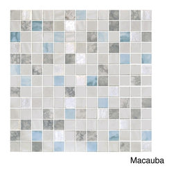 None - EmryTile 13.1-inch Onix Essence Glass Mosaic Tile Sheets (Pack of 5) - This pack of five metallic-finished glass mosaic tile sheets boast a beautiful shimmer that only glass can offer. With these sheets of 1-inch glass tiles, you can add that rich movement and variation of color to your interior space.