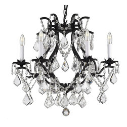 """The Gallery - Swarovski crystalrimmed chandelier - Wrought Iron Crystal chandelier Chandelie - This beautiful chandelier is trimmed with Sprectra crystal reliable crystal by Swarovski. Swarovski is the world's leading manufacturer of high quality crystal. Sprectra crystal Swarovski undergoes stringent quality control and offers the best crystal uniformity of sparkle, light reflection and Sprectral colors. 100% crystal chandelier. A Great European Tradition. Nothing is quite as elegant as the fine crystal chandeliers that gave sparkle to brilliant evenings at palaces and manor houses across Europe. This one-tier version from the Majesty Collection has 6 lights and is decorated and draped with 100% crystal that captures and reflects the light of the candle bulbs, each resting in a beautiful floral bobache.  The timeless elegance of this chandelier is sure to lend a special atmosphere anywhere its placed! Please note this item requires assembly. Size: H.19"""" W.20"""".THIS ITEM COMES with A SWAG PLUG-IN KIT , 14 FEET OF HANGING CHAIN AND WIRE"""
