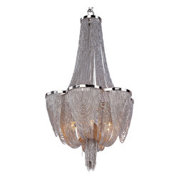 Chantilly Singl Tier Chandelier - Chantilly collection features metal frames gracefully draped with Nickel finished jewelry chain. Metal trim rings of Polished Nickel add sharp contrast to the softness of the chain, which conceals the xenon light source.