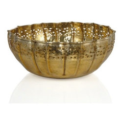 Z Gallerie - Avalon Bowl - Decoratively delightful in every sense of the word, our grandiose Avalon Bowl is a hand forged piece of art. Intricately formed from a hand-hammered and stamped sheet of aluminum, the delicate pattern is chipped out prior to being fluted by crafted artisans. A final polish is given to each piece creating their lustrous and brilliant finish.  For decorative use only.