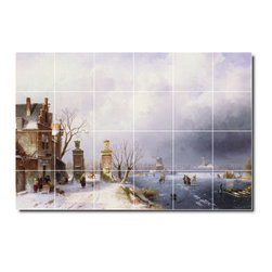 Picture-Tiles, LLC - A Sunlit Winter Lanscape Tile Mural By Charles Leickert - * MURAL SIZE: 24x36 inch tile mural using (24) 6x6 ceramic tiles-satin finish.