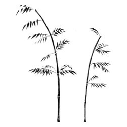 RoomMates - Painted Bamboo Peel & Stick Giant Wall Decal - Bring home a touch of the Orient with these serene black bamboo branches. Each element has been hand-drawn in a classic painterly style, and the subdued black and gray hues ensure the design will look at place in nearly any atmosphere. An elegant choice for living areas, bathrooms, bedrooms, and more. Completely customizable in both size and and assembly, you can remove and reposition each element until you've created the design of your dreams. Looking for something a bit brighter? Try our green photo-realistic bamboo instead.