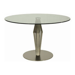 """Pastel Furniture - Pastel Furniture Alexandria 48 Inch Round Table w/ Glass Top - The Alexandria Dining Table with 48"""" Round glass top with clean-lined Stainless Steel frame is a unique yet simple design. This beautifully made table will bring the family together."""