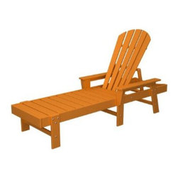 Polywood Outdoor Furniture South Beach Chaise Lounge, Tangerine - A tangerine chaise lounge screams summer when contrasting with freshly cut grass.
